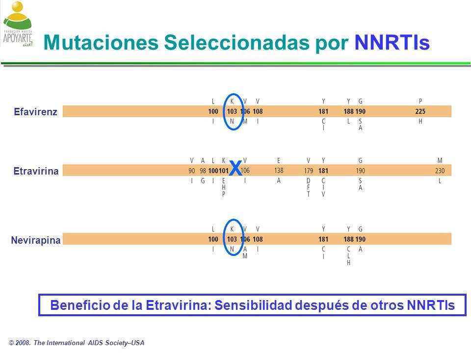 Mutaciones Seleccionadas por NNRTIs Efavirenz Etravirina Nevirapina X © 2008.