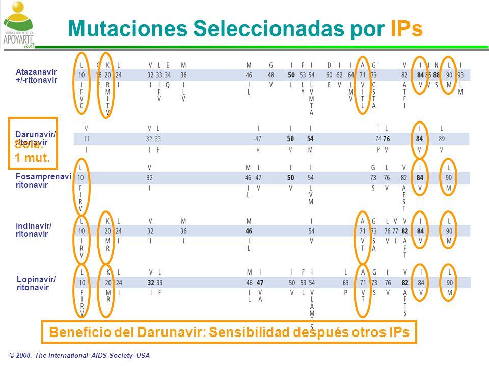 Mutaciones Seleccionadas por IPs Atazanavir +/-ritonavir Fosamprenavir/ ritonavir Indinavir/ ritonavir Lopinavir/ ritonavir Darunavir/ ritonavir © 2008.