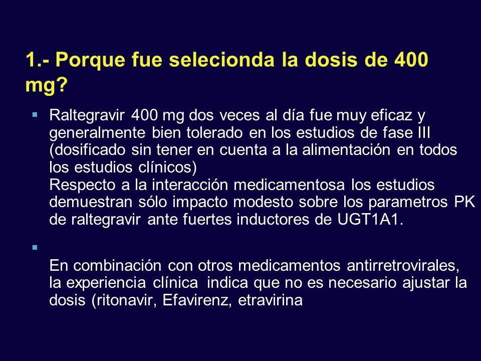 1.- Porque fue selecionda la dosis de 400 mg? Raltegravir 400 mg dos veces al día fue muy eficaz y generalmente bien tolerado en los estudios de fase