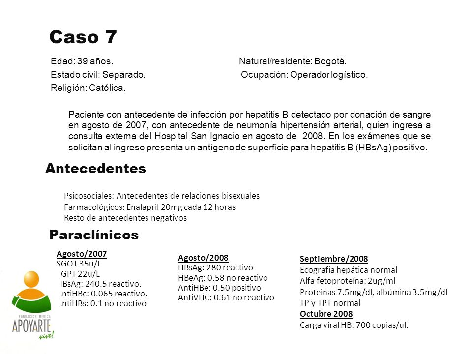 Caso 7 Edad: 39 años. Natural/residente: Bogotá. Estado civil: Separado. Ocupación: Operador logístico. Religión: Católica. Paciente con antecedente d