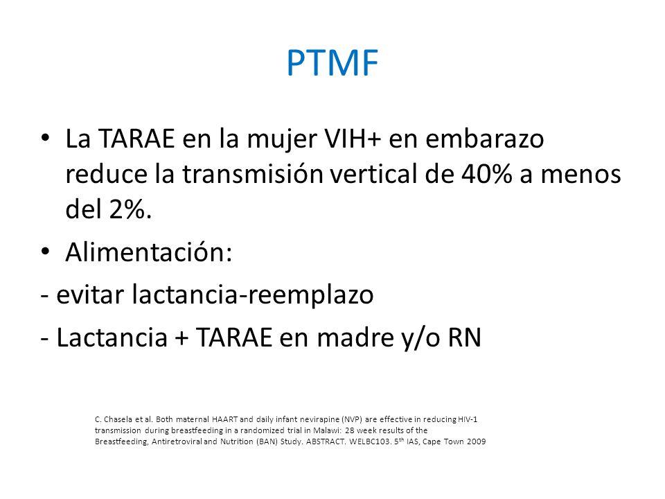 PTMF La TARAE en la mujer VIH+ en embarazo reduce la transmisión vertical de 40% a menos del 2%. Alimentación: - evitar lactancia-reemplazo - Lactanci