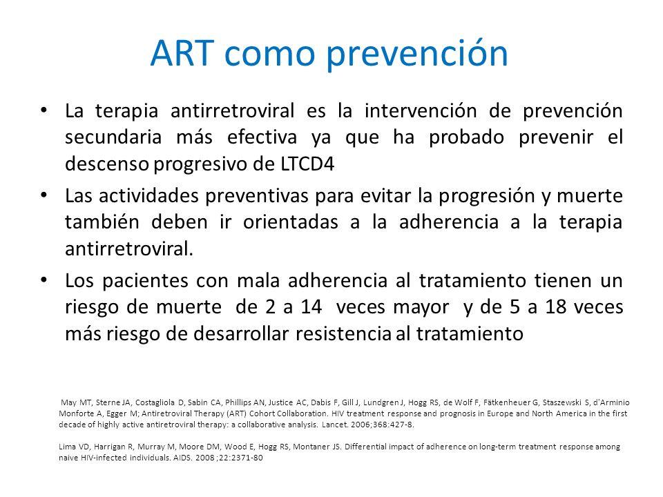 La terapia antirretroviral es la intervención de prevención secundaria más efectiva ya que ha probado prevenir el descenso progresivo de LTCD4 Las act
