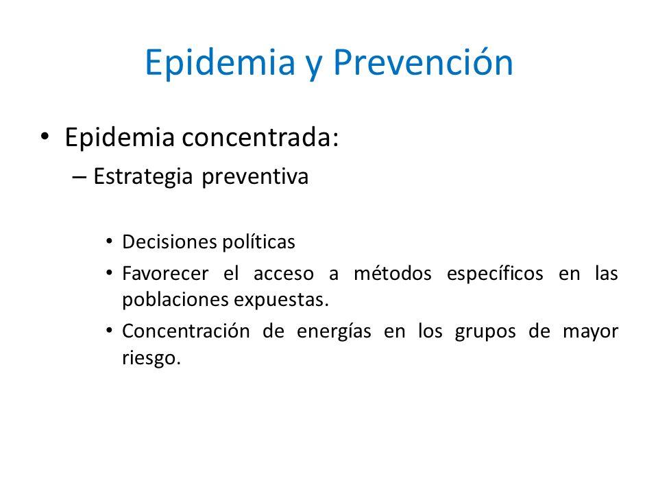Epidemia y Prevención Epidemia concentrada: – Estrategia preventiva Decisiones políticas Favorecer el acceso a métodos específicos en las poblaciones