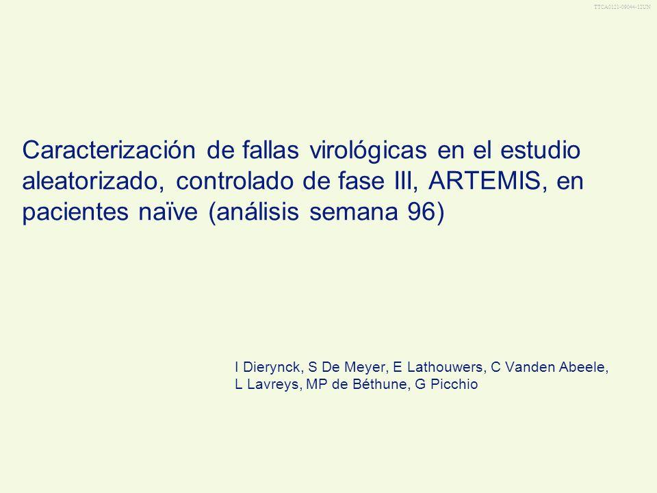 TTCA0121-09044-12UN Caracterización de fallas virológicas en el estudio aleatorizado, controlado de fase III, ARTEMIS, en pacientes naïve (análisis se