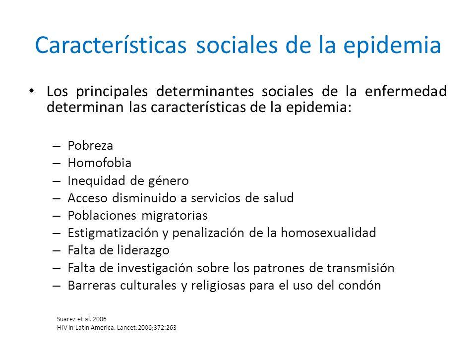 Los principales determinantes sociales de la enfermedad determinan las características de la epidemia: – Pobreza – Homofobia – Inequidad de género – A