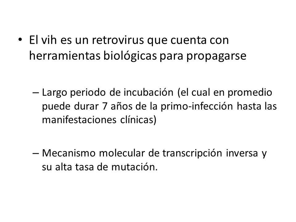 El vih es un retrovirus que cuenta con herramientas biológicas para propagarse – Largo periodo de incubación (el cual en promedio puede durar 7 años de la primo-infección hasta las manifestaciones clínicas) – Mecanismo molecular de transcripción inversa y su alta tasa de mutación.