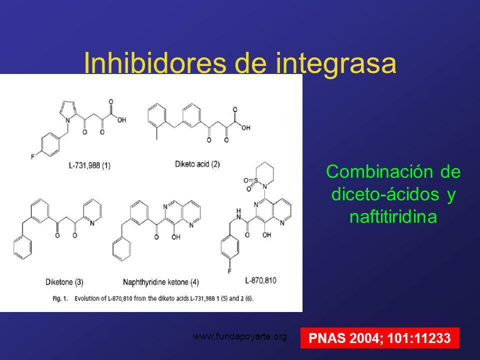 www.fundapoyarte.org Inhibidores de integrasa Combinación de diceto-ácidos y naftitiridina PNAS 2004; 101:11233