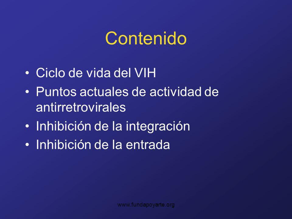 www.fundapoyarte.org Contenido Ciclo de vida del VIH Puntos actuales de actividad de antirretrovirales Inhibición de la integración Inhibición de la e