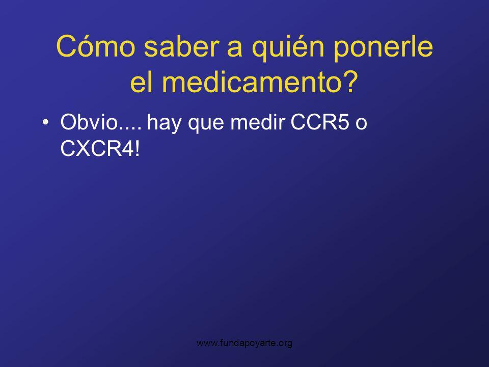 www.fundapoyarte.org Cómo saber a quién ponerle el medicamento? Obvio.... hay que medir CCR5 o CXCR4!