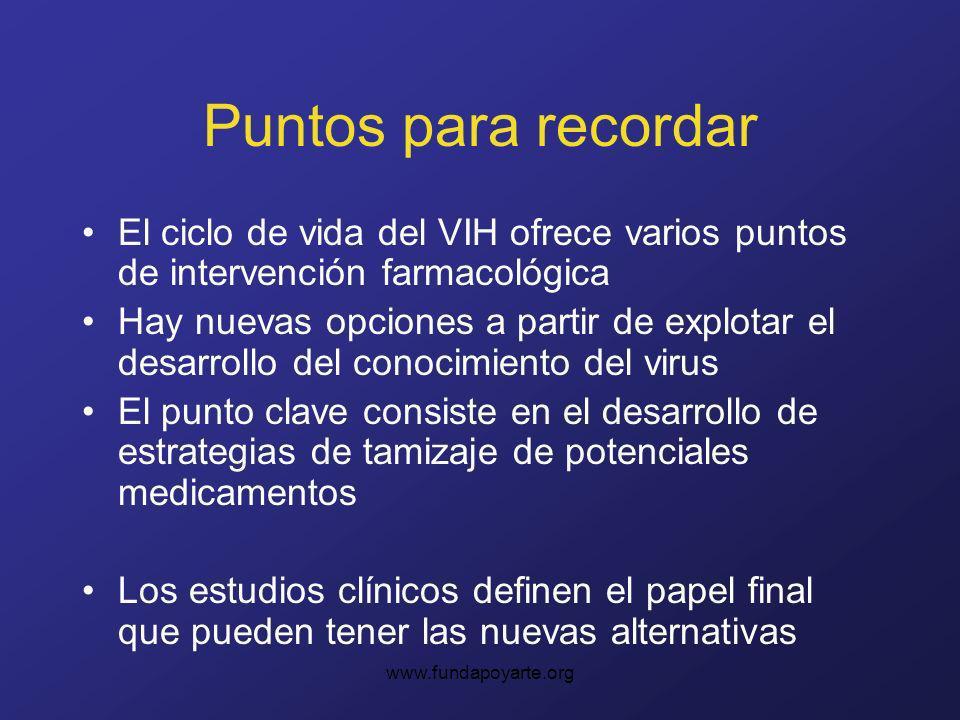 www.fundapoyarte.org Puntos para recordar El ciclo de vida del VIH ofrece varios puntos de intervención farmacológica Hay nuevas opciones a partir de