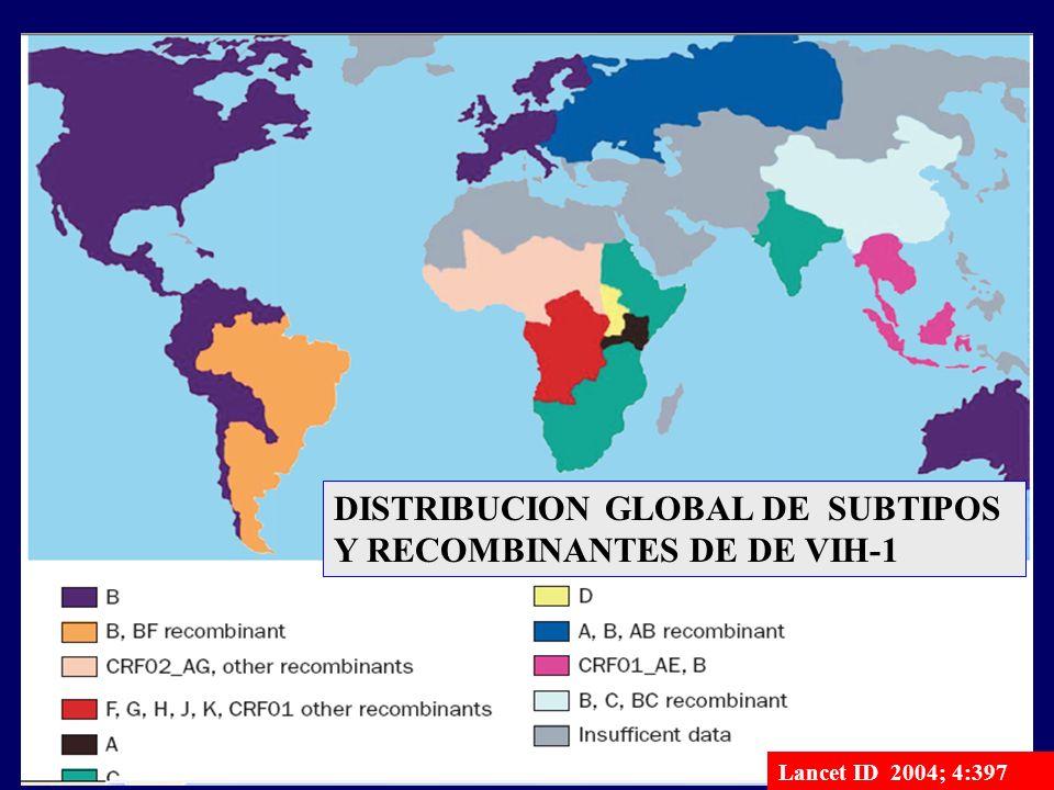 www.fundapoyarte.org Distribución mundial de los subtipos Lancet ID 2004; 4:397 DISTRIBUCION GLOBAL DE SUBTIPOS Y RECOMBINANTES DE DE VIH-1