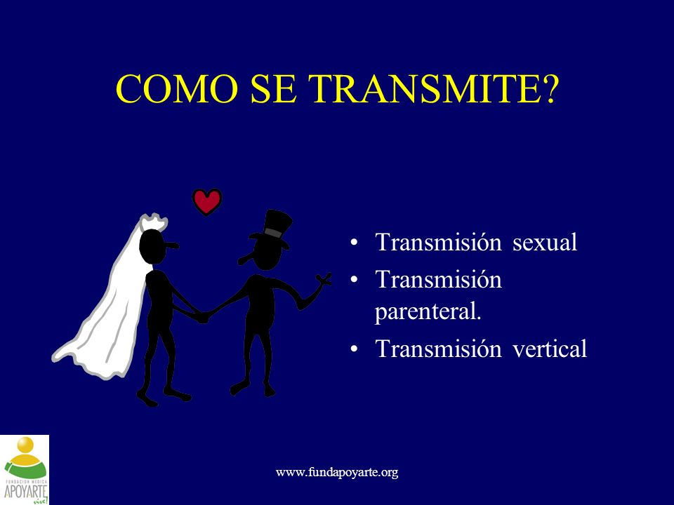 www.fundapoyarte.org COMO SE TRANSMITE? Transmisión sexual Transmisión parenteral. Transmisión vertical