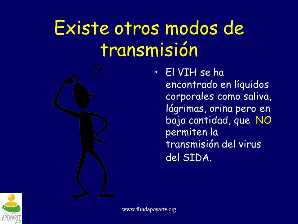 www.fundapoyarte.org Existe otros modos de transmisión El VIH se ha encontrado en líquidos corporales como saliva, lágrimas, orina pero en baja cantid