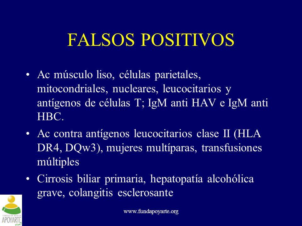 www.fundapoyarte.org FALSOS POSITIVOS Ac músculo liso, células parietales, mitocondriales, nucleares, leucocitarios y antígenos de células T; IgM anti