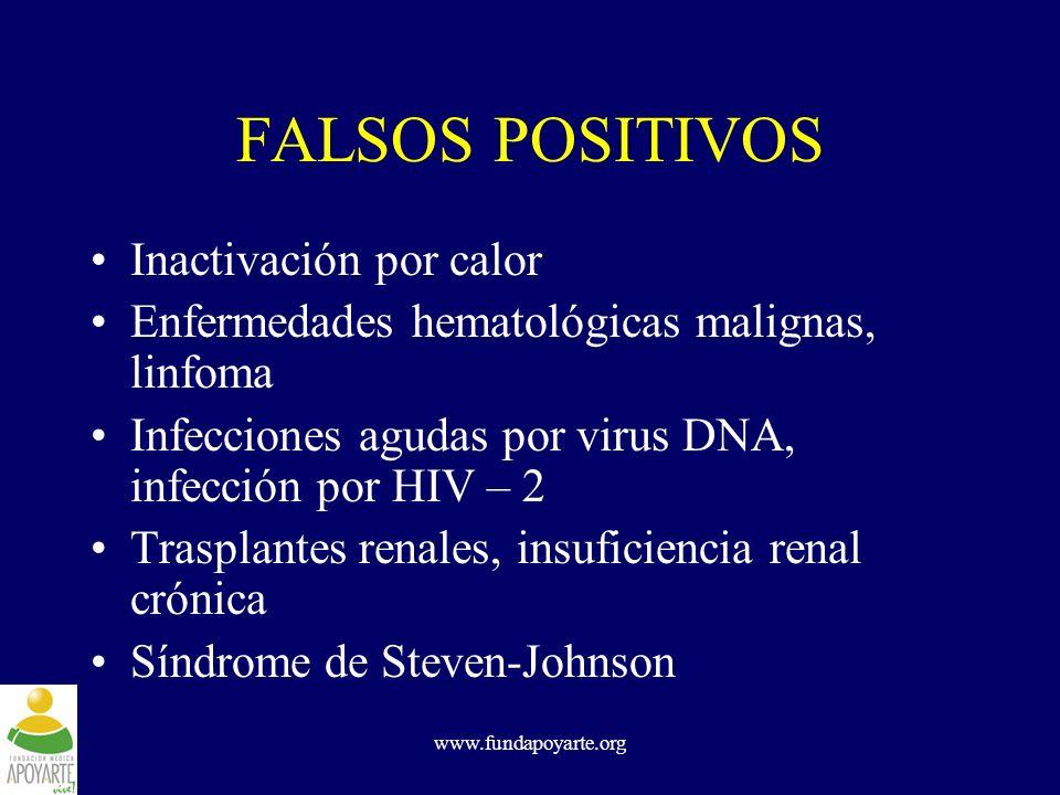 www.fundapoyarte.org FALSOS POSITIVOS Inactivación por calor Enfermedades hematológicas malignas, linfoma Infecciones agudas por virus DNA, infección