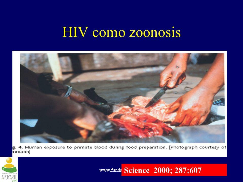 www.fundapoyarte.org HIV como zoonosis Science 2000; 287:607