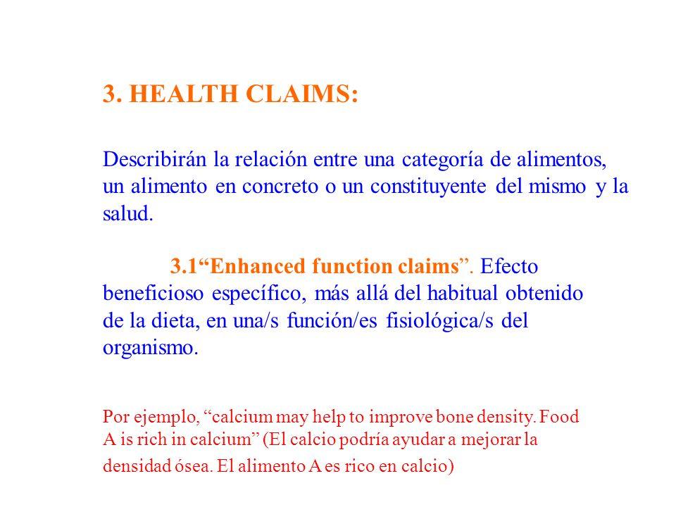 Describirán la relación entre una categoría de alimentos, un alimento en concreto o un constituyente del mismo y la salud. 3.1Enhanced function claims