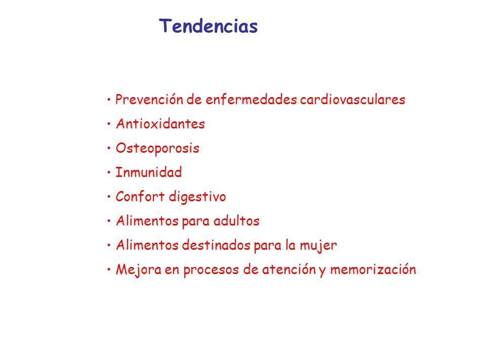 Tendencias Prevención de enfermedades cardiovasculares Antioxidantes Osteoporosis Inmunidad Confort digestivo Alimentos para adultos Alimentos destina