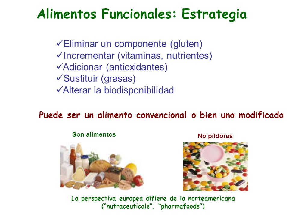 Eliminar un componente (gluten) Incrementar (vitaminas, nutrientes) Adicionar (antioxidantes) Sustituir (grasas) Alterar la biodisponibilidad Puede se