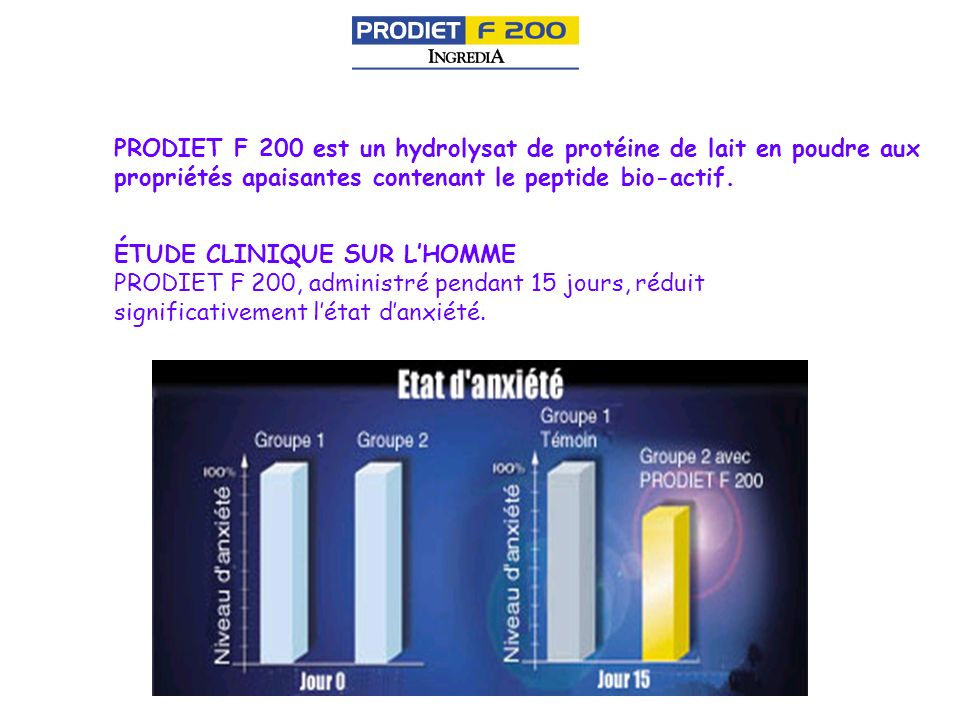 PRODIET F 200 est un hydrolysat de protéine de lait en poudre aux propriétés apaisantes contenant le peptide bio-actif. ÉTUDE CLINIQUE SUR LHOMME PROD
