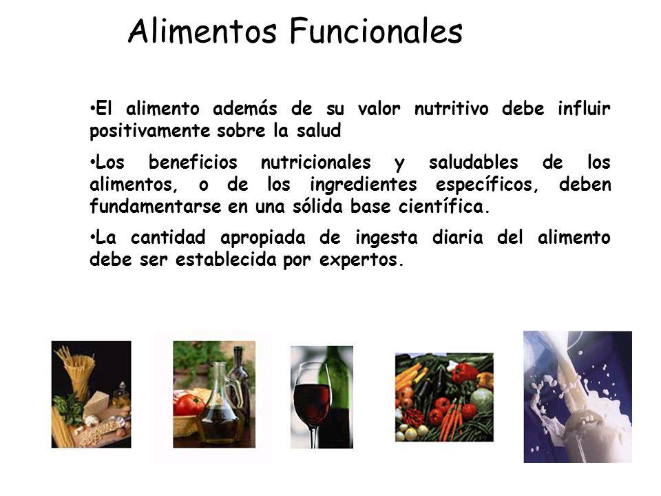 Alimentos Funcionales El alimento además de su valor nutritivo debe influir positivamente sobre la salud Los beneficios nutricionales y saludables de