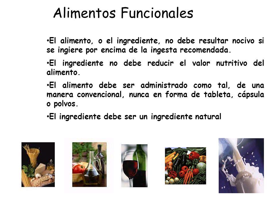El alimento, o el ingrediente, no debe resultar nocivo si se ingiere por encima de la ingesta recomendada. El ingrediente no debe reducir el valor nut