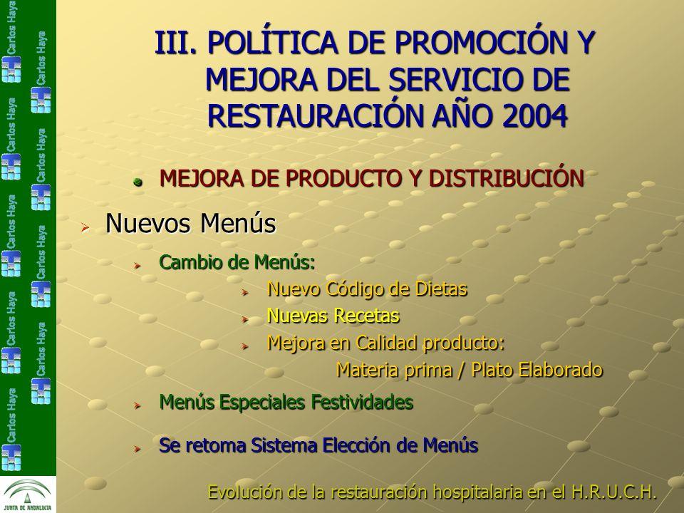 Evolución de la restauración hospitalaria en el H.R.U.C.H. III. POLÍTICA DE PROMOCIÓN Y MEJORA DEL SERVICIO DE RESTAURACIÓN AÑO 2004 Nuevos Menús Nuev