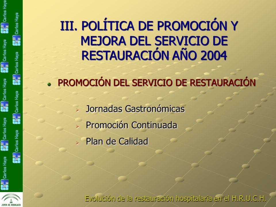 Evolución de la restauración hospitalaria en el H.R.U.C.H. PROMOCIÓN DEL SERVICIO DE RESTAURACIÓN Jornadas Gastronómicas Jornadas Gastronómicas Promoc