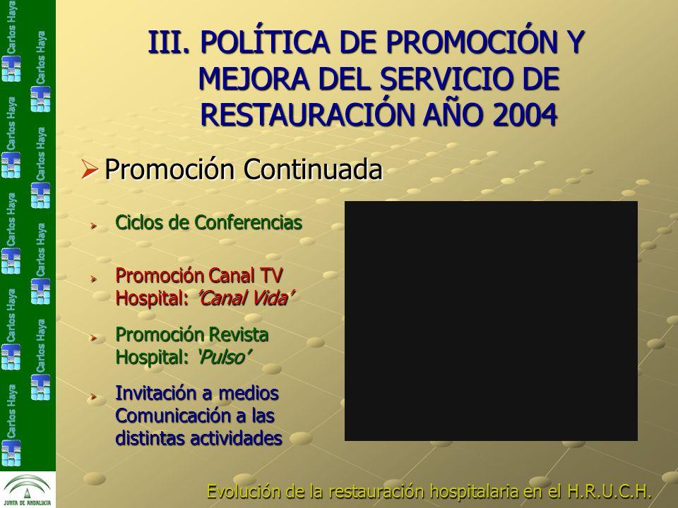 III. POLÍTICA DE PROMOCIÓN Y MEJORA DEL SERVICIO DE RESTAURACIÓN AÑO 2004 Invitación a medios Comunicación a las distintas actividades Invitación a me