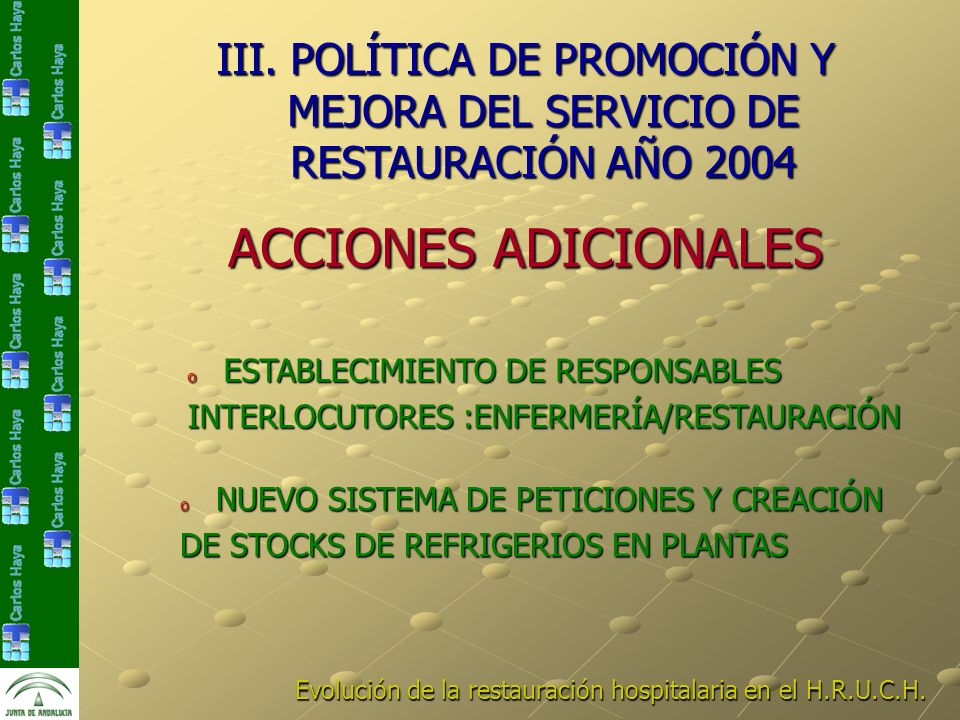 III. POLÍTICA DE PROMOCIÓN Y MEJORA DEL SERVICIO DE RESTAURACIÓN AÑO 2004 Evolución de la restauración hospitalaria en el H.R.U.C.H. ACCIONES ADICIONA