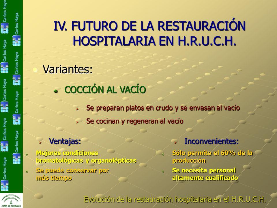 Se preparan platos en crudo y se envasan al vacío Se preparan platos en crudo y se envasan al vacío Evolución de la restauración hospitalaria en el H.