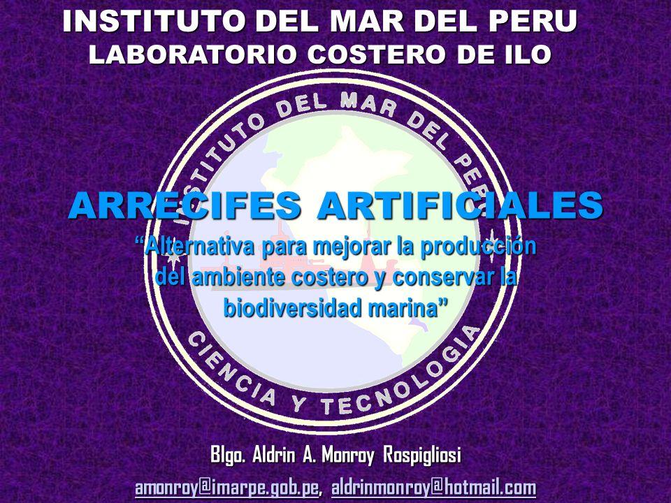 ARRECIFES ARTIFICIALES Alternativa para mejorar la producción del ambiente costero y conservar la biodiversidad marina Blgo. Aldrin A. Monroy Rospigli