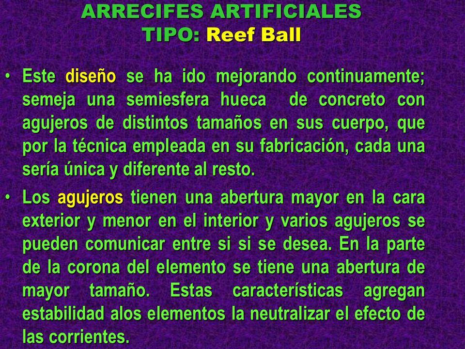 ARRECIFES ARTIFICIALES TIPO: Reef Ball Este diseño se ha ido mejorando continuamente; semeja una semiesfera hueca de concreto con agujeros de distinto