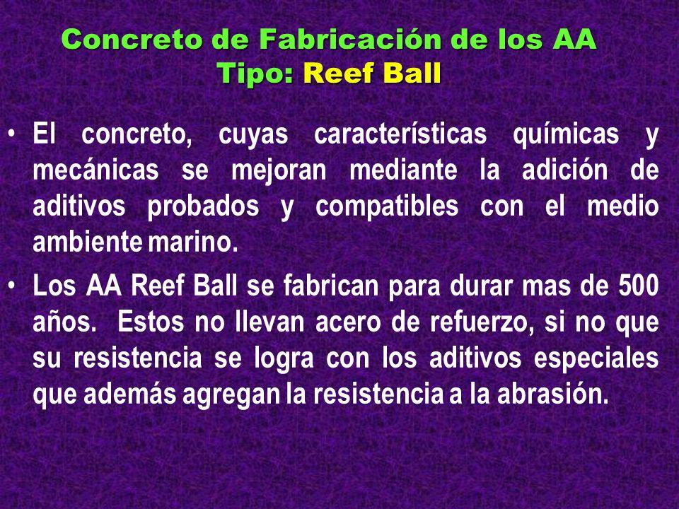 Concreto de Fabricación de los AA Tipo: Reef Ball El concreto, cuyas características químicas y mecánicas se mejoran mediante la adición de aditivos p