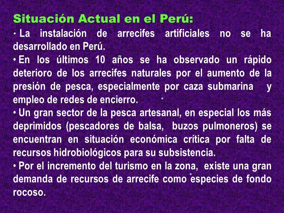 Situación Actual en el Perú: La instalación de arrecifes artificiales no se ha desarrollado en Perú. En los últimos 10 años se ha observado un rápido