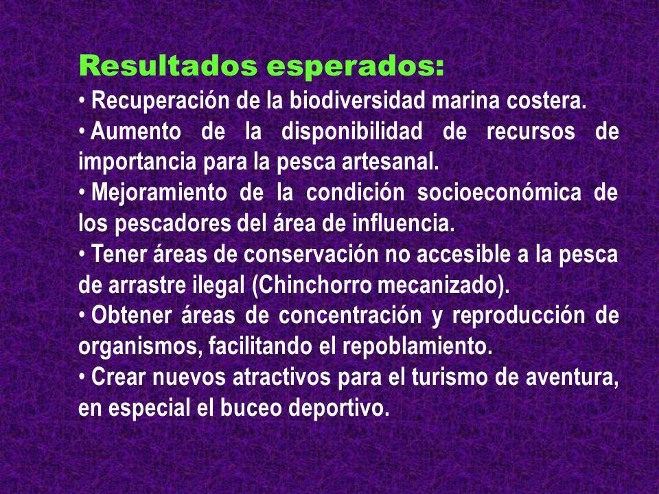 Resultados esperados: Recuperación de la biodiversidad marina costera. Aumento de la disponibilidad de recursos de importancia para la pesca artesanal