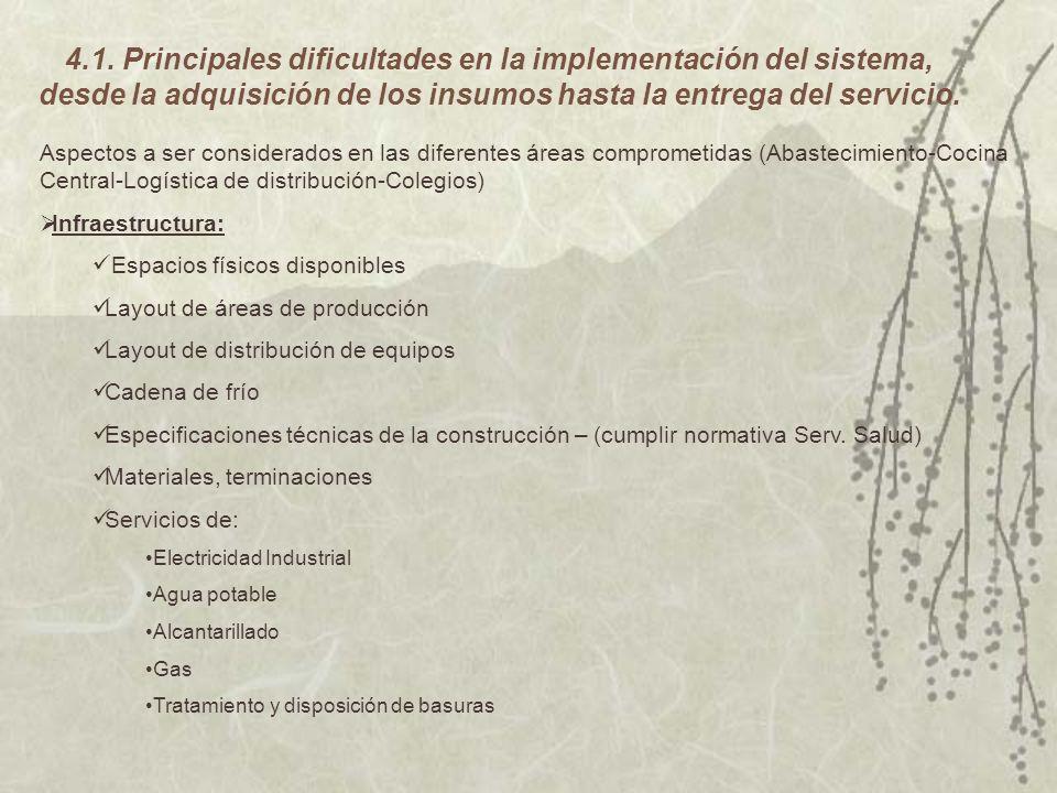 4.1. Principales dificultades en la implementación del sistema, desde la adquisición de los insumos hasta la entrega del servicio. Aspectos a ser cons