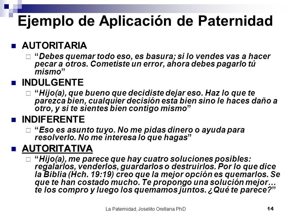 La Paternidad, Joselito Orellana PhD14 Ejemplo de Aplicación de Paternidad AUTORITARIA Debes quemar todo eso, es basura; si lo vendes vas a hacer peca