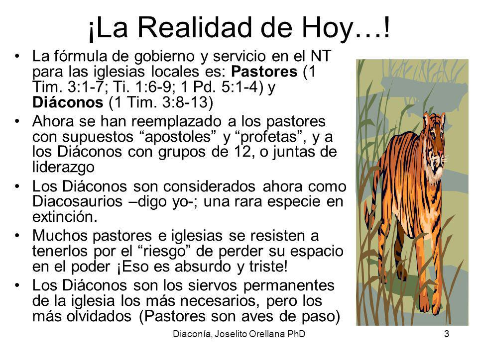 Diaconía, Joselito Orellana PhD3 ¡La Realidad de Hoy….