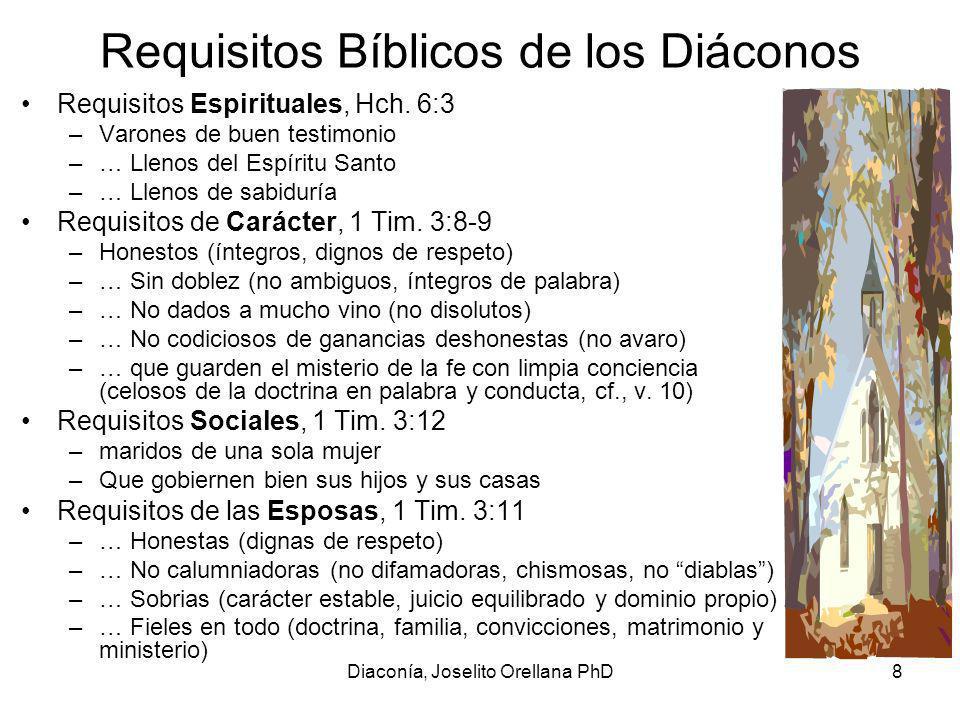 Diaconía, Joselito Orellana PhD9 Bienaventuranza del Diaconado grado honrosomucha confianza en la feY éstos sean sometidos a prueba primero, y entonces ejerzan el diaconado, si son irreprensibles (…) Porque los que ejerzan bien el diaconado, ganan para sí un grado honroso, y mucha confianza en la fe que es en Cristo Jesús 1 Tim.