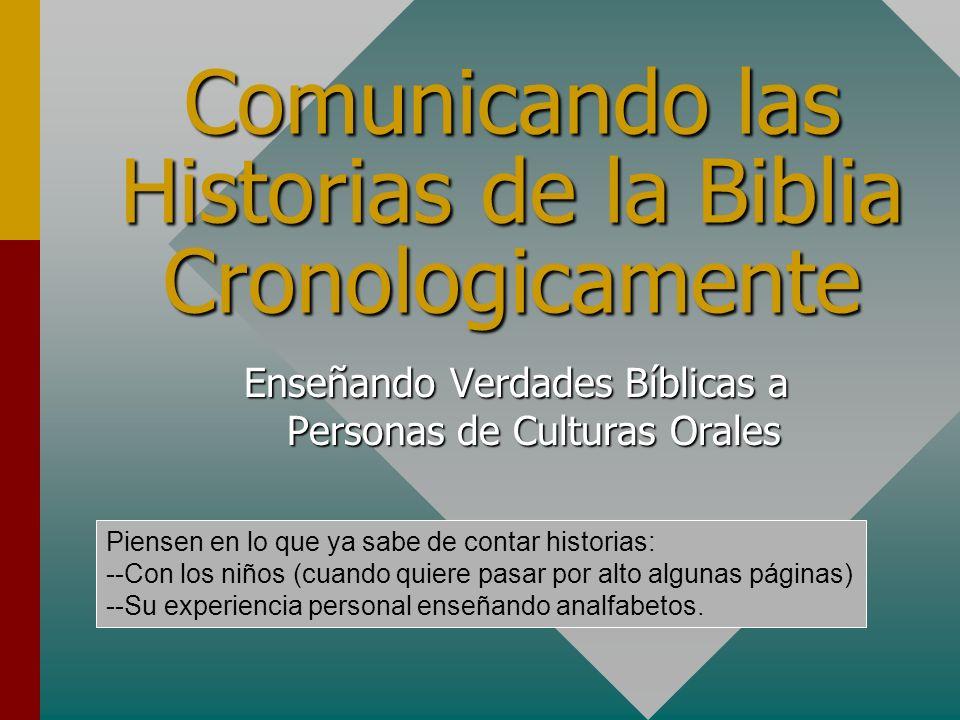 Comunicando las Historias de la Biblia Cronologicamente Enseñando Verdades Bíblicas a Personas de Culturas Orales Piensen en lo que ya sabe de contar