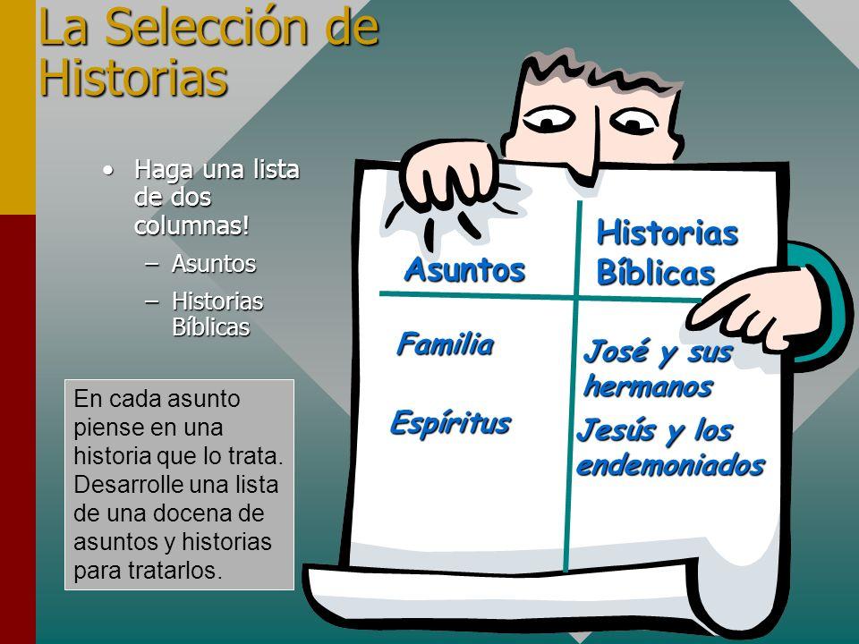 La Selección de Historias Haga una lista de dos columnas!Haga una lista de dos columnas! –Asuntos –Historias Bíblicas Familia HistoriasBíblicas Asunto