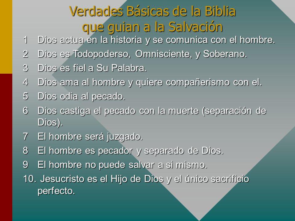 Verdades Básicas de la Biblia que guian a la Salvación 1Dios actua en la historia y se comunica con el hombre. 2Dios es Todopoderso, Omnisciente, y So