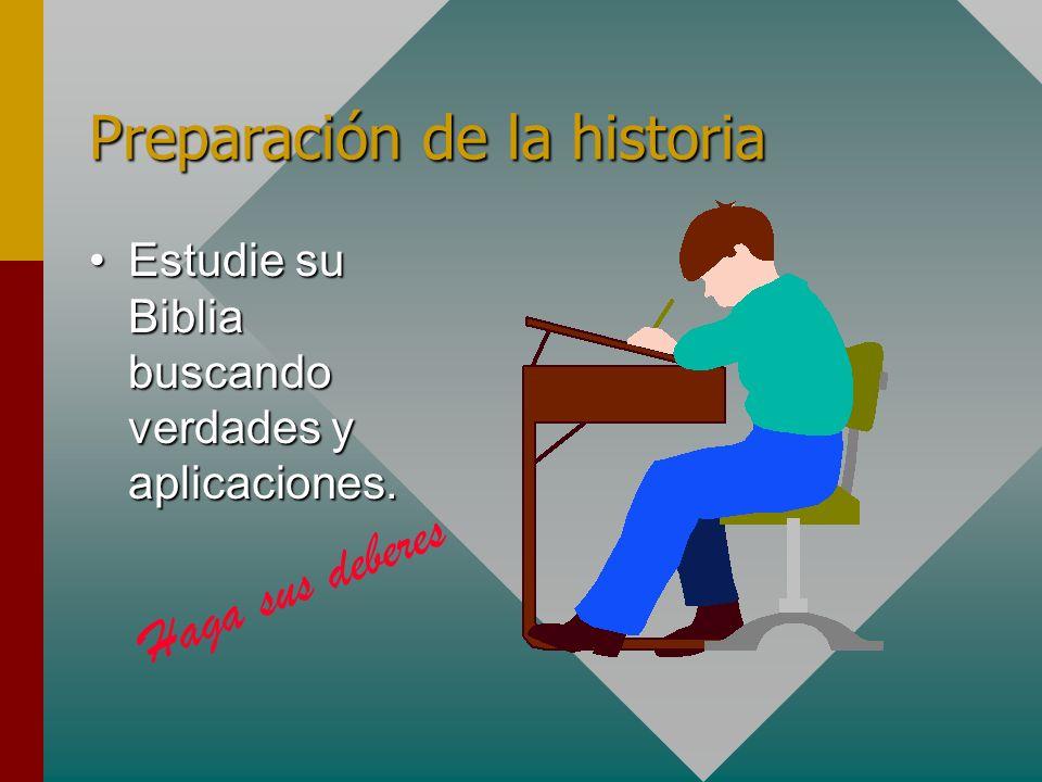 Preparación de la historia Estudie su Biblia buscando verdades y aplicaciones.Estudie su Biblia buscando verdades y aplicaciones. Haga sus deberes