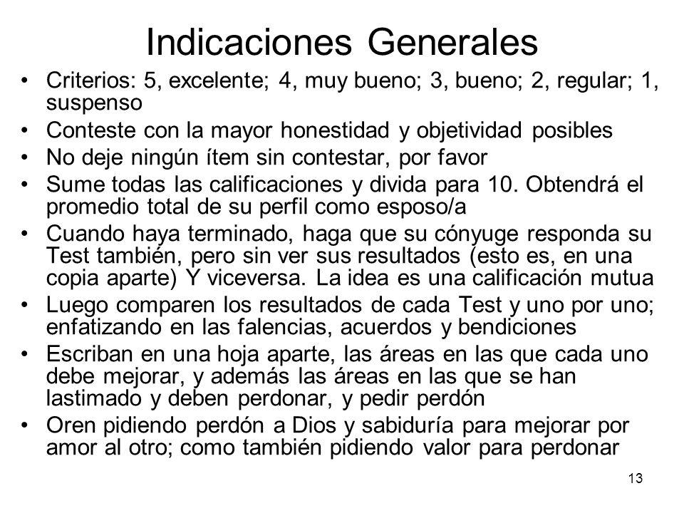 13 Indicaciones Generales Criterios: 5, excelente; 4, muy bueno; 3, bueno; 2, regular; 1, suspenso Conteste con la mayor honestidad y objetividad posi