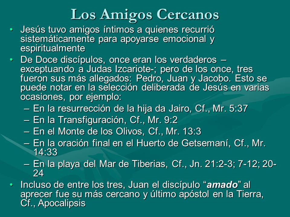 Los Amigos Cercanos Jesús tuvo amigos íntimos a quienes recurrió sistemáticamente para apoyarse emocional y espiritualmenteJesús tuvo amigos íntimos a