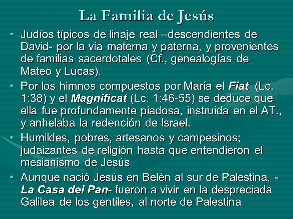 La Familia de Jesús Judíos típicos de linaje real –descendientes de David- por la vía materna y paterna, y provenientes de familias sacerdotales (Cf.,