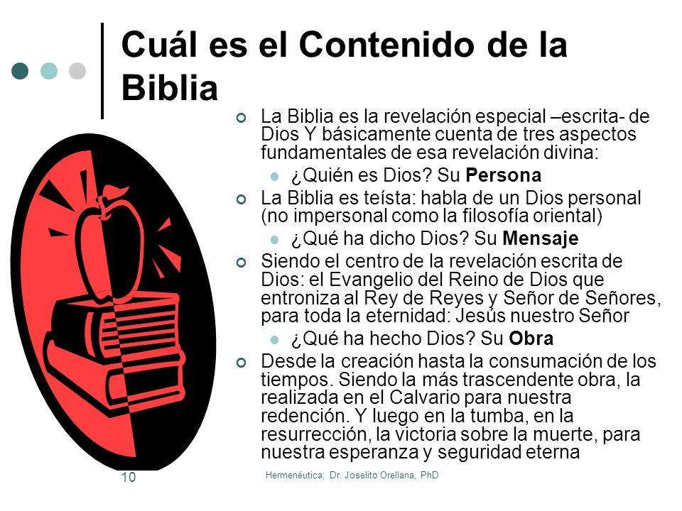 Hermenéutica; Dr. Joselito Orellana, PhD 9 Qué es la Biblia Creo que George Eldon Ladd, ha proporcionado la definición más simple, clara y a la vez pr