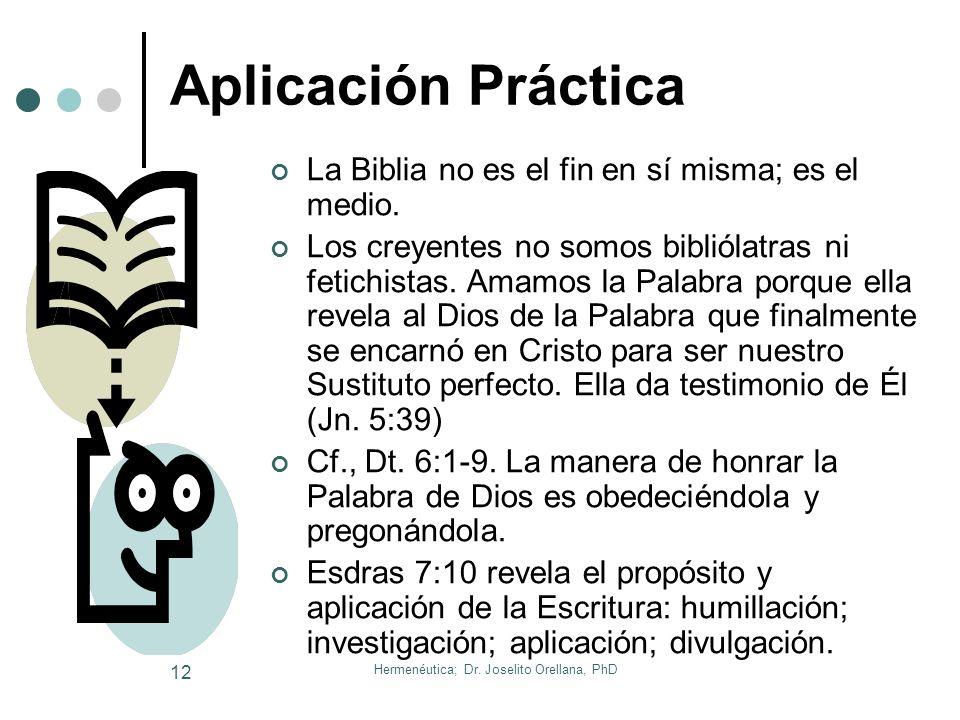 Hermenéutica; Dr. Joselito Orellana, PhD 11 Cuál es el Propósito de la Biblia Su énfasis: el amor de Dios. El tema de la Biblia es la historia de la r