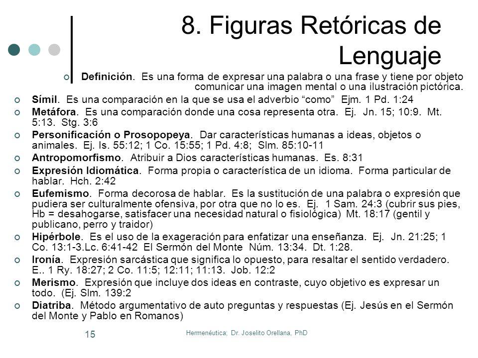 Hermenéutica; Dr. Joselito Orellana, PhD 14 7. Círculo Hermenéutico Sagrada Escritura Intérprete Teología Cosmovisión Preguntas Respuestas